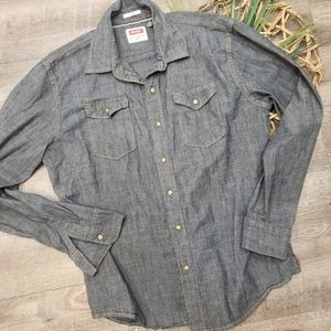 Wrangler Denium Long Sleeve Pearl Snap Button